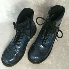 Doc Dr Martens Size 6/37 Women's 1460 Blue glitter  Lace up Coated Boots EUC