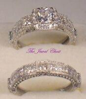 3 Ct Princess Antique Diamond Engagement Ring Wedding Set Vintage White Gold ov