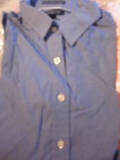 NEW! Lands End WOMENS NO IRON PINPOINT OXFORD BLOUSE BLUE SIZE 14