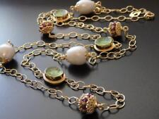 TAGLIAMONTE Long Necklace YGP/SS Green VENETIAN CAMEOS+Faceted GARNETS+PEARLS