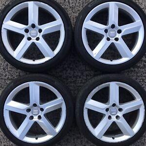"Genuine Seat Exeo 18"" Alloy Wheels FR Altea Leon 5 Spoke 3R0601025B Tyre 225 40"