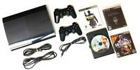 SONY PLAYSTATION 3 PS3 SUPER SLIM 500GB Console Bundle 2 OEM Controllers 4 Games