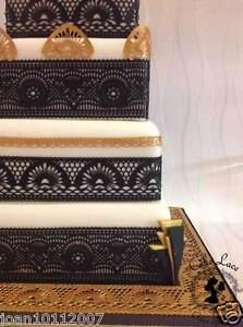 Art Deco Edible Cake Lace.  3 Designs