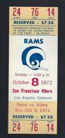 1972 NFL SAN FRANCISCO 49ERS @ LOS ANGELES RAMS FULL UNUSED FOOTBALL TICKET