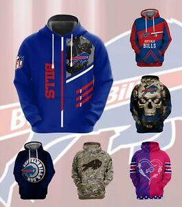 Buffalo Bills 3D Print Hoodie Pullover Sweatshirt Casual Hooded Jacket Fans Coat