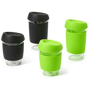 EZOWare Travel Mug Tumbler Sleeve Lid Glass Coffee Tea Cup Set 4 16/12 oz
