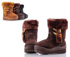 Brown Unisex Cute Zipper Faux Fur Boys Toddlers Kids Girls Winter Boots Size 9