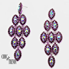 HIGH END SUPER CHUNKY PURPLE RHINESTONE CRYSTAL EARRINGS WEDDING FORMAL TRENDY