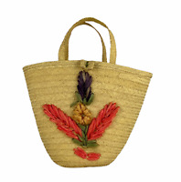 Vintage Woven Raffia Straw Flowers Pink Purple Beach Island Tourist Tote Bag
