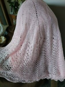 hand knitted pink traditional circular lace baby shawl new.