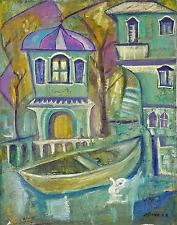 Original Signed Aristarkh Lentulov (Russian 1882-1942)  O/C Buildings w/ Boat
