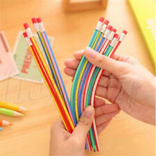 10PCS Funny Colors  Bendy Flexible Soft Pencils With Eraser For Kids Study Gift