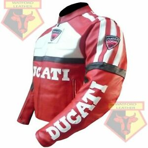 DUCATI RED MOTORBIKE MOTORCYCLE COWHIDE LEATHER ARMOURED JACKET. SIZE: MEDIUM