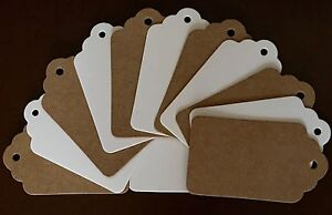 40 x 70 mm Topside Wave White Brown Filllet Kraft Plain Factory Card Tags Labels