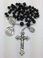 Police Officer St. Michael Black Onyx Catholic Rosary Beads