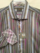 Men's Thomas Dean Gray Blue Purple Stripe Plaid Cuffs LS Shirt Size XXL  2XL New