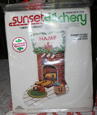 Vintage Sunset Stitchery: CHRISTMAS FIRESIDE Crewel Embroidery Stocking KIt 18""