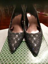 Women��s shoes size 10.J. Renee black with silver sequins Pumps NEW WITh BOX
