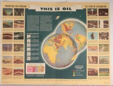 """VERY RARE 1947 """"This Is Oil"""" Shell Oil Co. Poster #1 Prospecting for Petroleum"""
