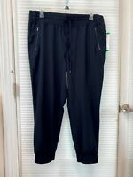 DANSKIN Womens Black Woven Jogger Active Pants Adjustable Drawcord Size XL - NWT