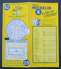 Carte MICHELIN old map n°62 CHAUMONT STRASBOURG 1960 Guide Bibendum pneu tyre