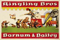 1940s Ringling Bros Circus Monkies going into Circus Tent Poster - 24x36