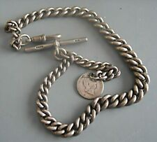 More details for lovely heavy antique 1904 solid silver watch chain & coin fob