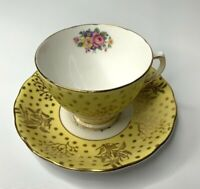 Colclough Bone China Tea Cup & Saucer Set Yellow Gold White Made In England 7735