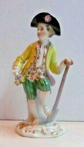 Meissen Porcelain Figure Boy Flowers Spade