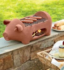 Hibachi Outdoor Barbeque Charcoal Grill, Portable Camp/Tailgate, Terracotta Pig