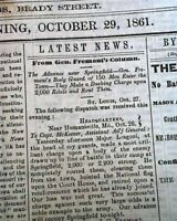 Rare DAVENPORT Iowa Civil War Era First Battle of Springfield MO 1861 Newspaper