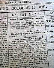 Rare DAVENPORT Iowa Civil War Era First Battle of Springfield MO 1861 Newspaper