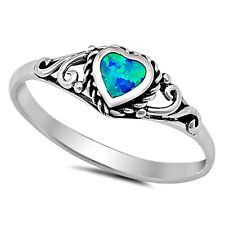 .925 Sterling Silver Ring size 4 Heart cut Opal Midi Kids Ladies Blue New px53