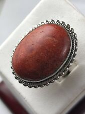 Designer Doug Paulus DP India Silver Sterling 925 Red Coral Statement Ring Sz 8