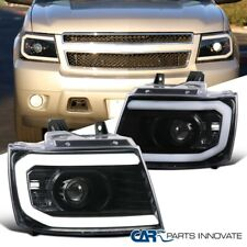 For 2007-2013 Avalanche Suburban Tahoe Pearl Black Projector Headlights Lamp LED