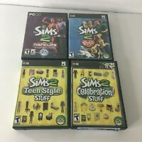 Lot of 4, PC The Sims 2 Expansion Packs Computer Games Nightlife Pets Teen Style