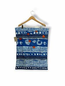 Anthropologie Blue Patterned Dish Towel With Orange Button Features