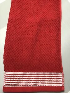 DEBORAH CONNOLLY DESIGNS HAND TOWELS (2) RED WHITE BORDER100% COTTON 16 x 24 NWT
