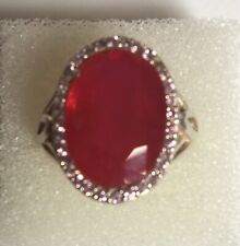 Gorgeous 15ct Ruby Ring Surrounded By Light Pink Sapphires. Size Q