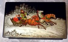"""VINTAGE RUSSIAN LACQUER HINGED 6"""" TRINKET BOX-SIGNED-DATE-NUMBERED CERTIF-TROIKA"""