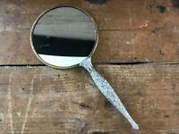 Vintage Ornate Handheld Brass Antique Vanity Metal 2-Sided Bathroom Hand Mirror