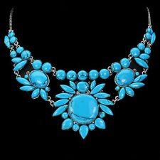 Plata esterlina 925 grandes Turquesa Natural Genuino Diseñador Collar 17 pulgadas