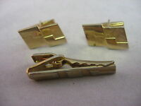 Modernist Design Vintage Mens Gold Tone Jewelry Set Cufflinks Tie Bar Clip