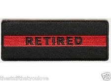 "(D13) RETIRED RED LINE FIREFIGHTER 4"" x 1.5"" iron on patch (4409)"