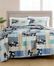 Martha Stewart Collection Contrast Patchwork Cotton Reversible Quilt KING - Navy
