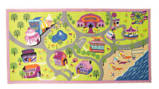 Matrix Kiddy Girls World town green Multi washable rug - 80 x 120 cm