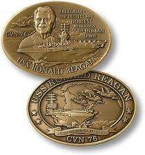 USS Ronald Reagan Challenge Coin CVN-76 US Navy Nuclear Aircraft Carrier Ship