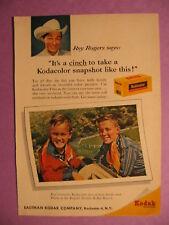 Aug.1959 Reader's Digest Kodak ad w/Roy Rogers & sons