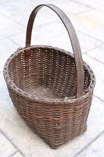 Antique Primitive Oval Splint Woven Gathering Basket Square Bottom Nice