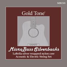 Gold Tone Mblns MicroBass LaBella 'Silverback' Silver-Wrapped Nylon Strings
